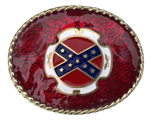 REBEL FLAG Belt Buckle Red Gold Colour