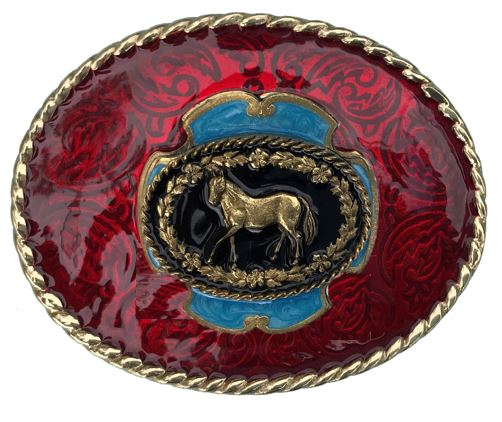 Horse Belt Buckle Red Gold Colour