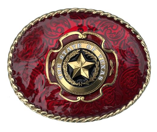 TEXAS STAR Belt Buckle Red Gold Colour