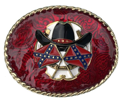 HAT AND FLAGS Belt Buckle Red Gold Colour