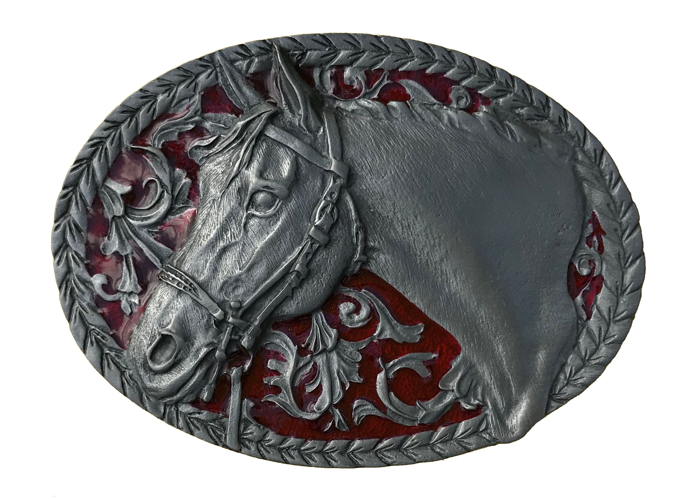 Horse Oval Red Belt Buckle