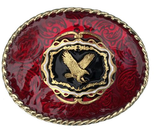 Flying Eagle Belt Buckle Red Gold Colour