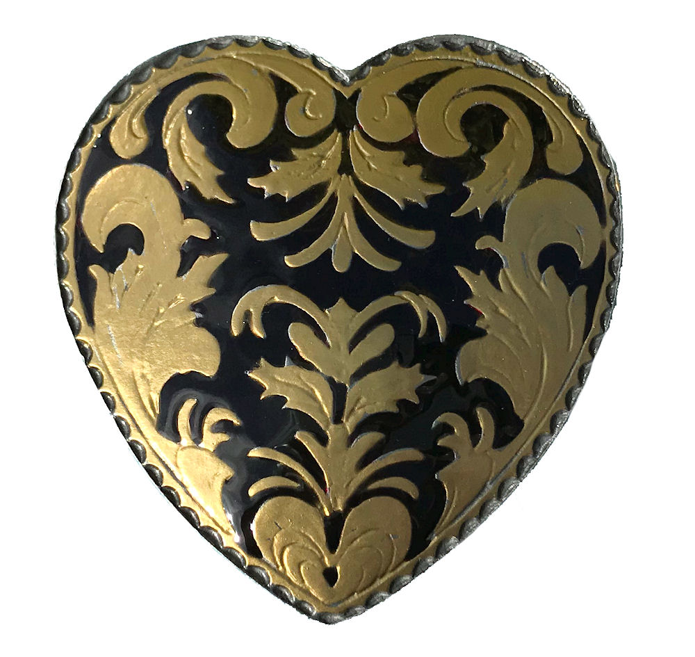 Western Heart Black & Gold Range Belt Buckle