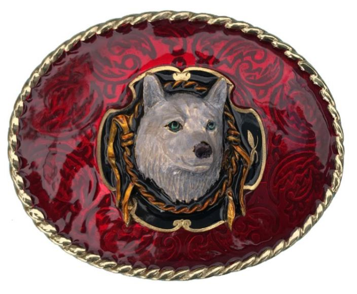 WOLF AND ROPE Belt Buckle Red Gold Colour