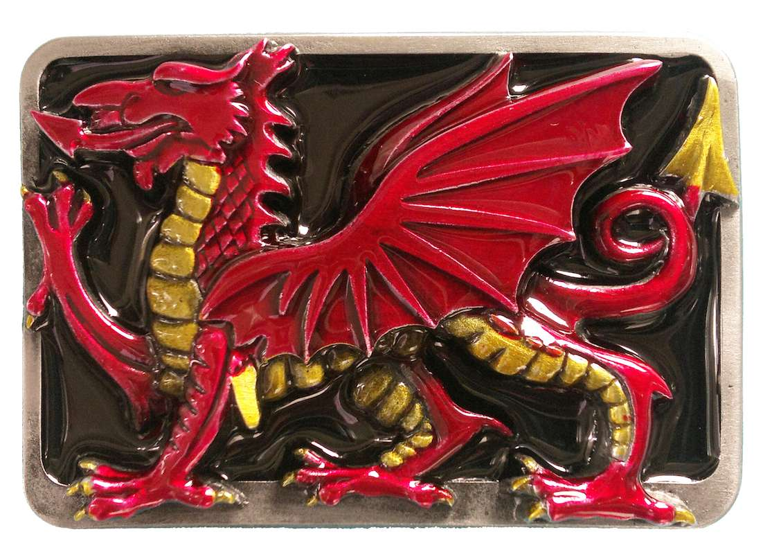 Welsh Dragon Red & Black Belt Buckle