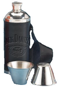 JACK DANIELS BLACK LEATHER TRAVEL FLASK