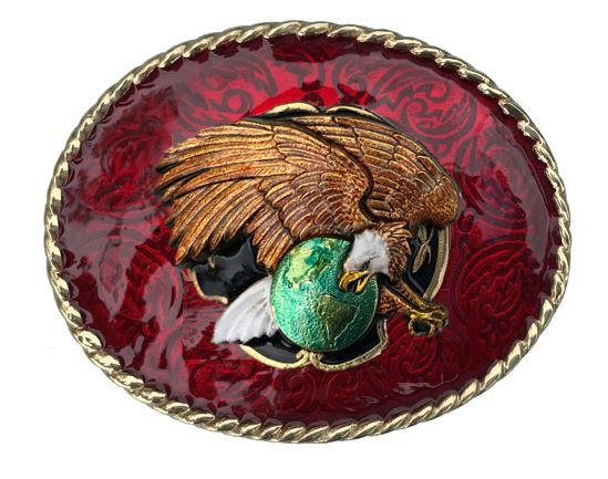 EAGLE ON GLOBE Belt Buckle Red Gold Colour
