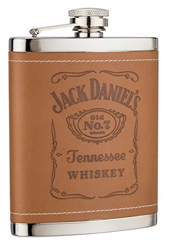 JACK DANIELS TAN LEATHER HIP FLASK