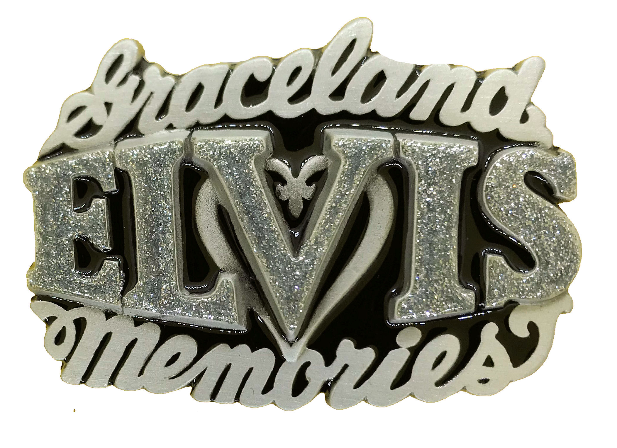 Elvis Memories Black & Silver Glitter