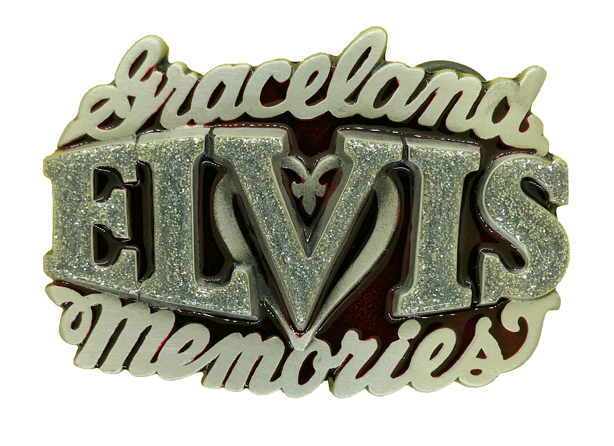 Elvis Memories Red & Silver Glitter