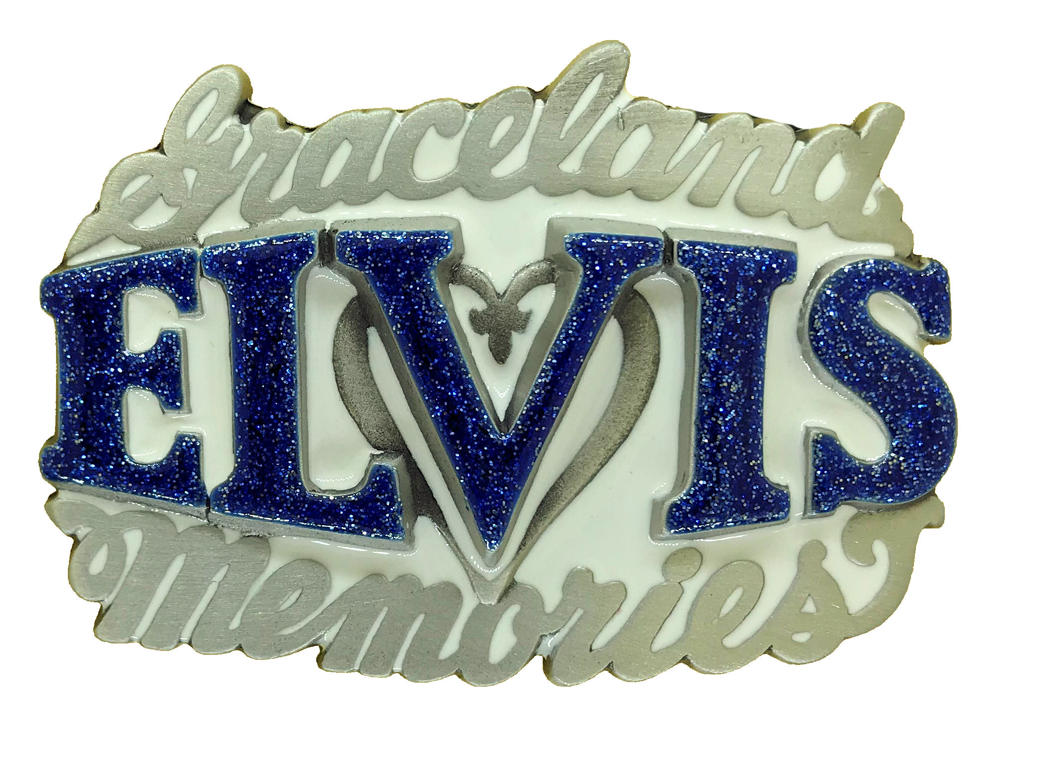 Elvis Memories White & Blue Glitter