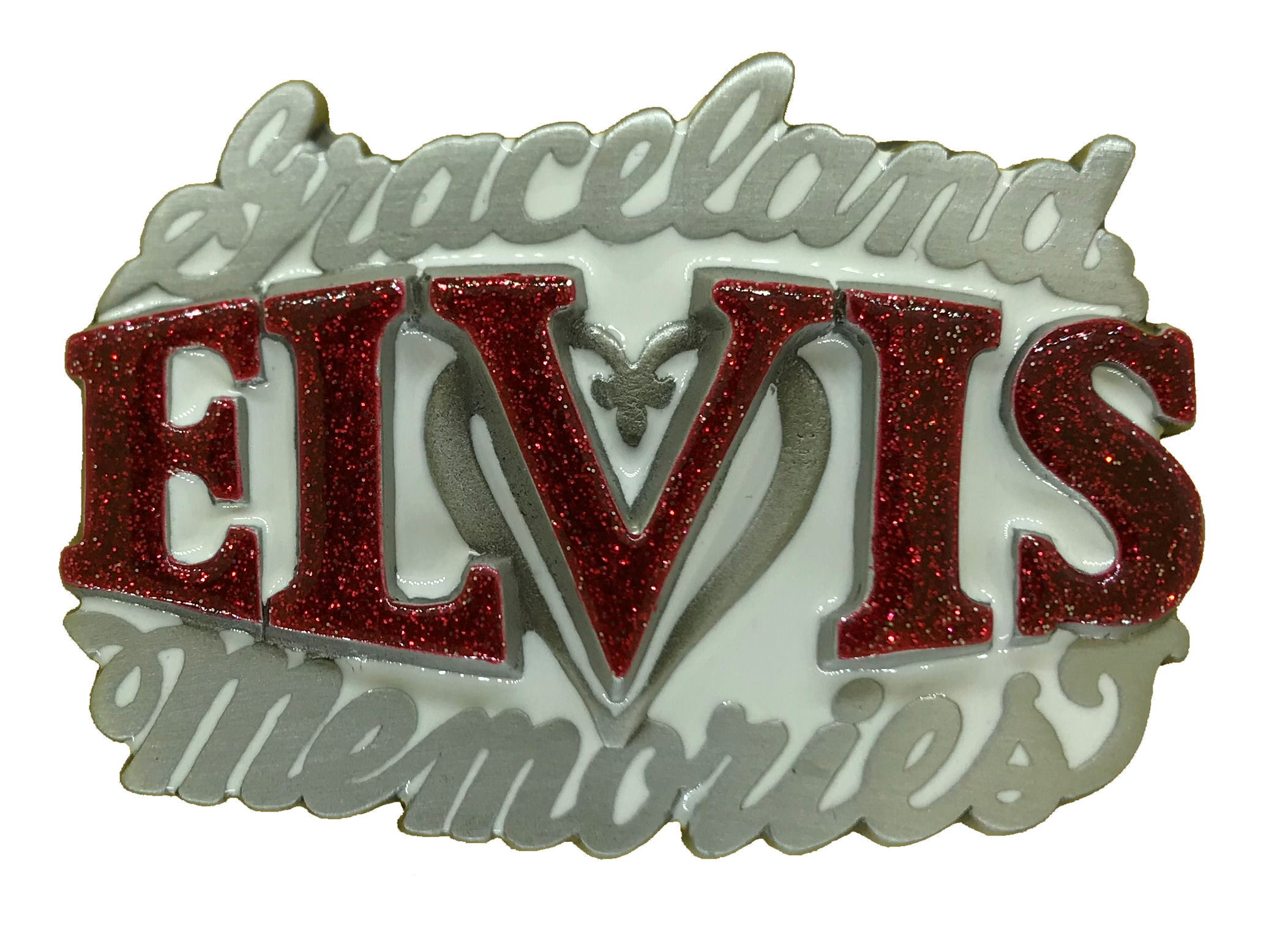 Elvis Memories White & Red Glitter