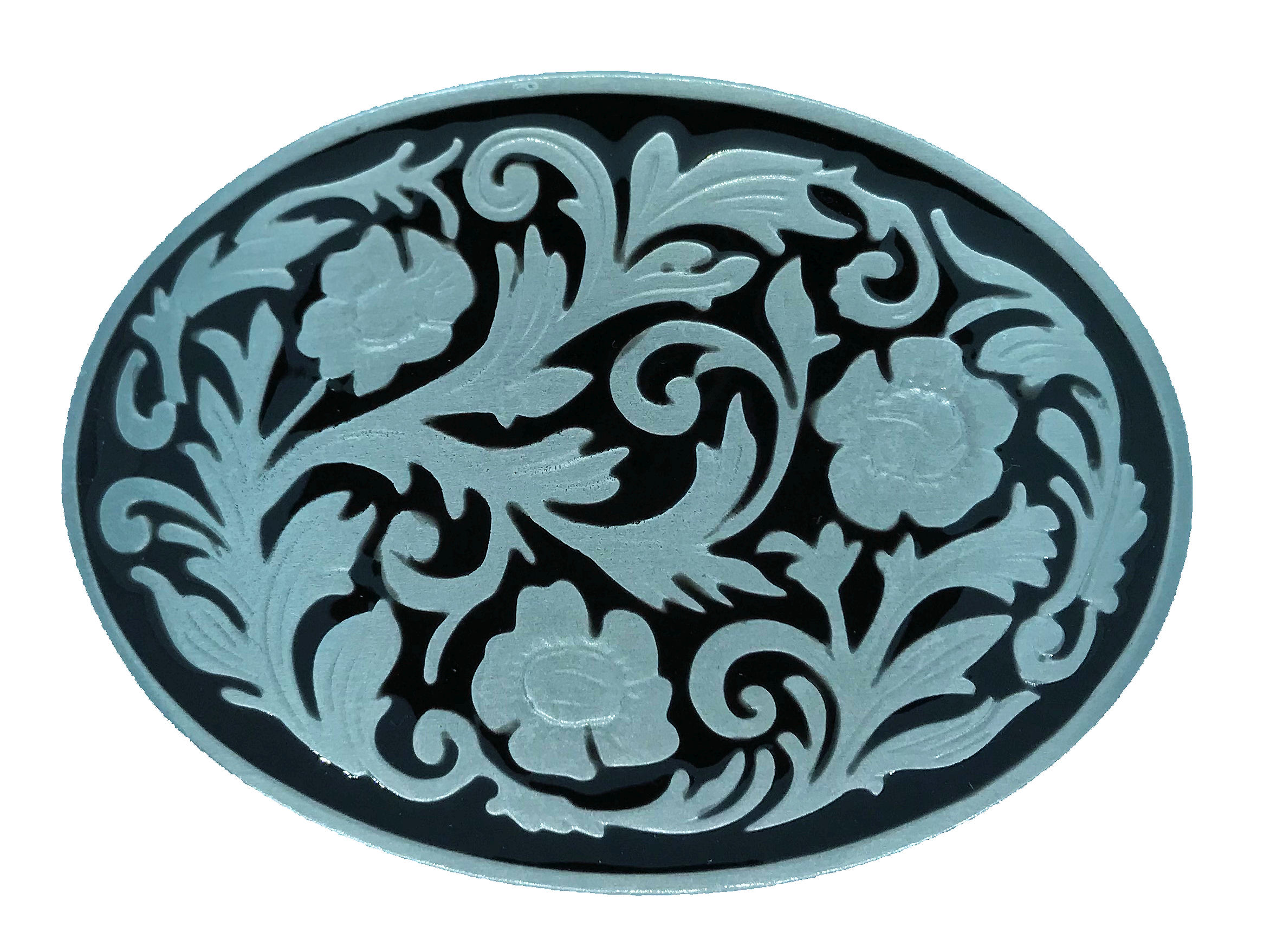 Western Scroll Oval Black