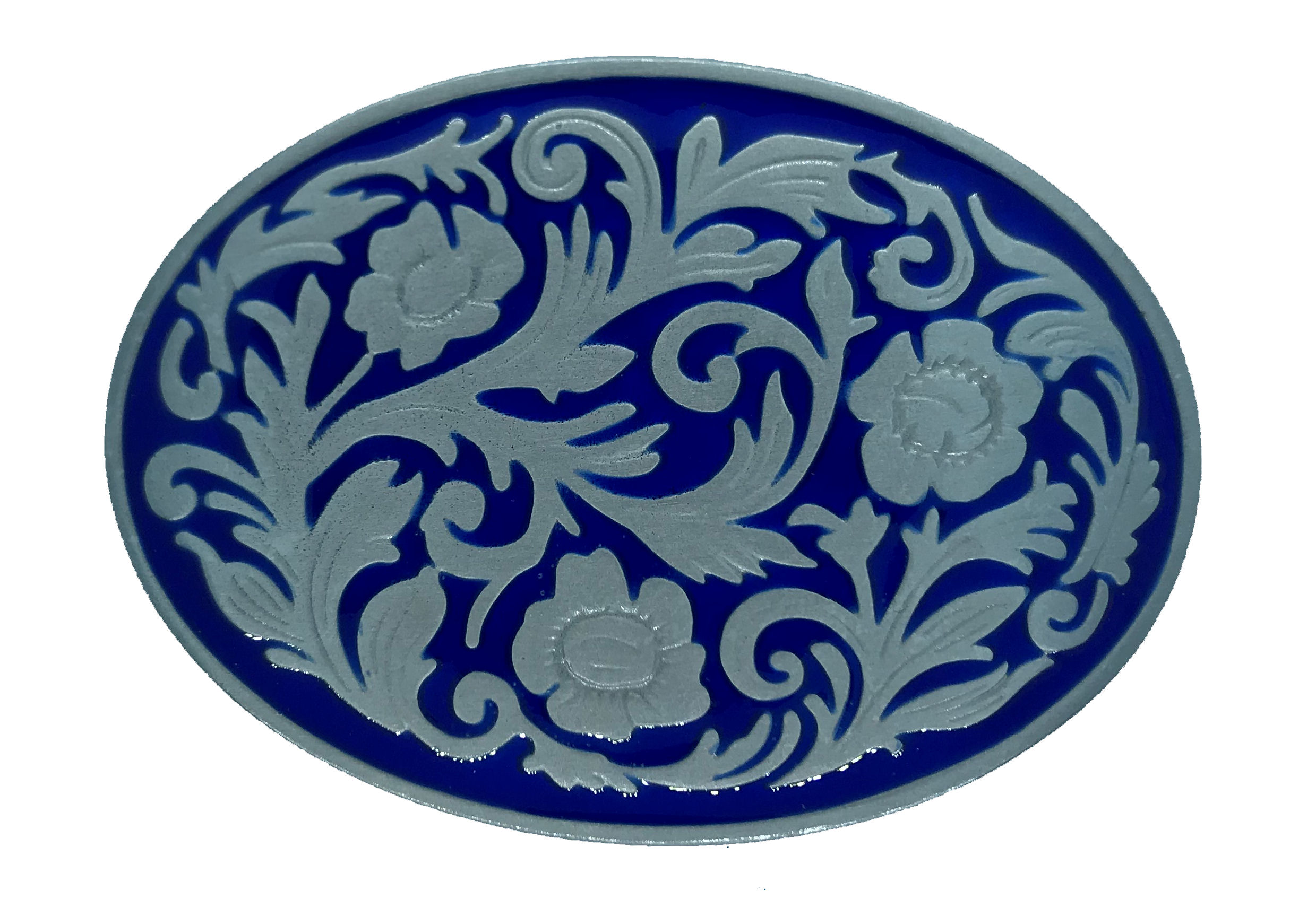 Western Scroll Oval Blue