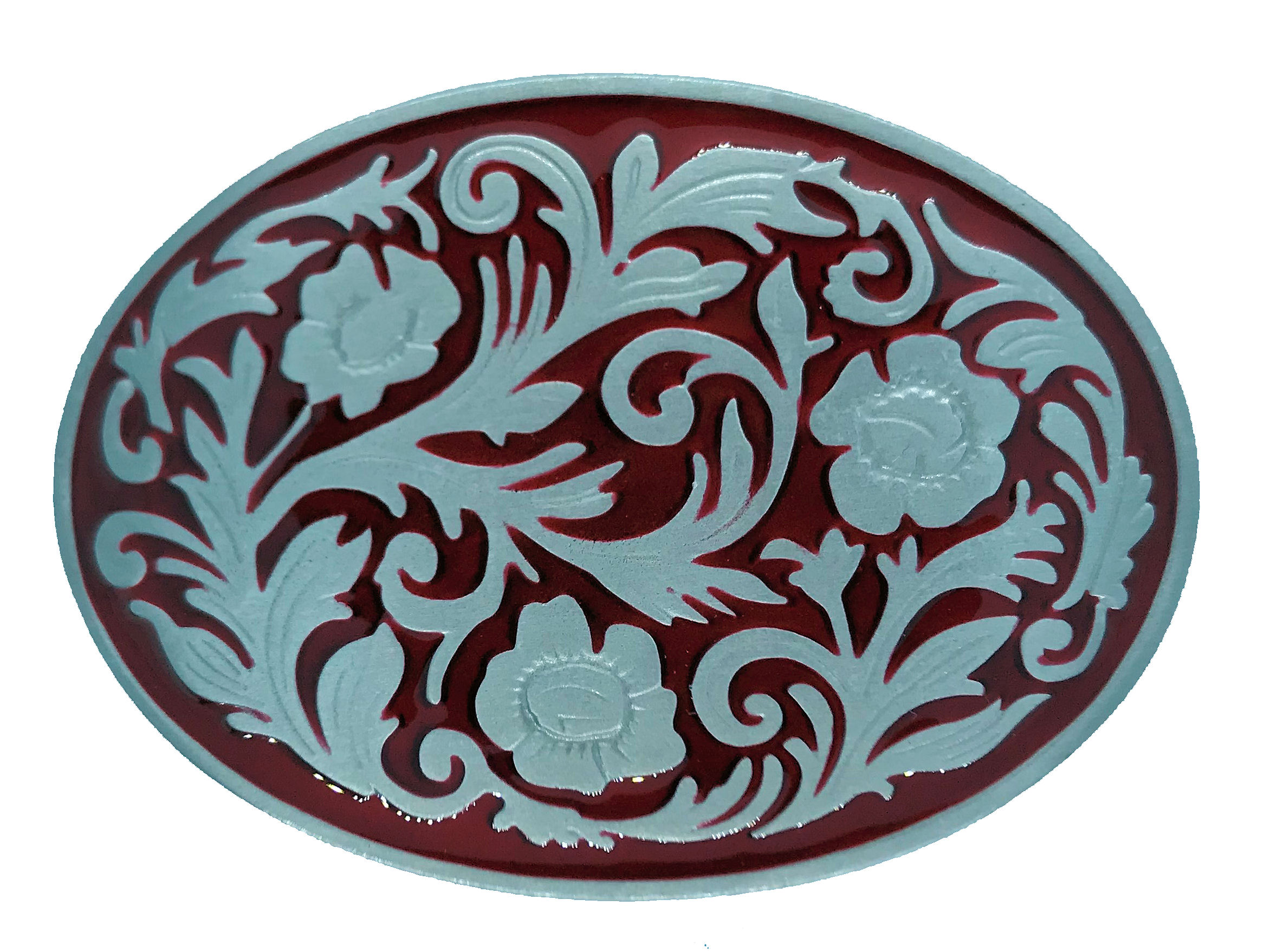 Western Scroll Oval Red Belt Buckle