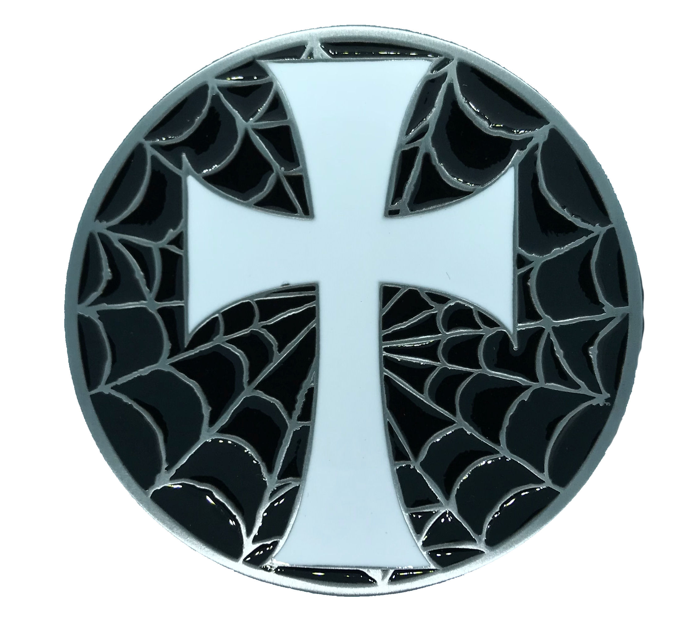 Cross and Web Black & White Belt Buckle