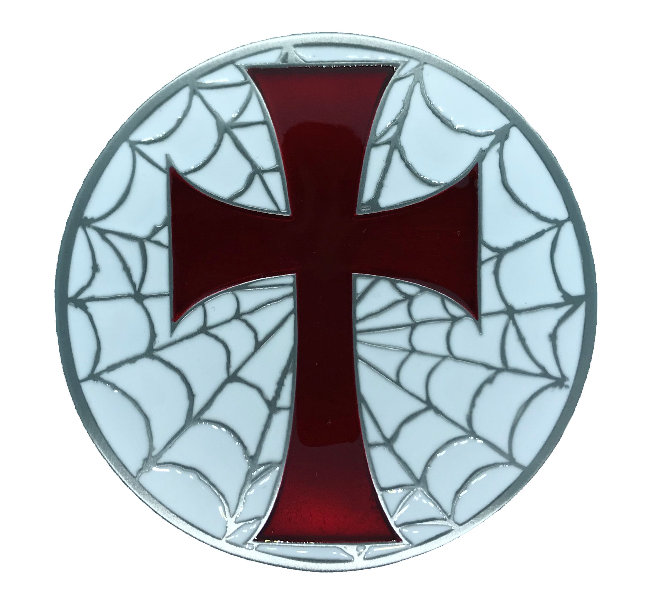 Cross and Web Red - White Belt Buckle