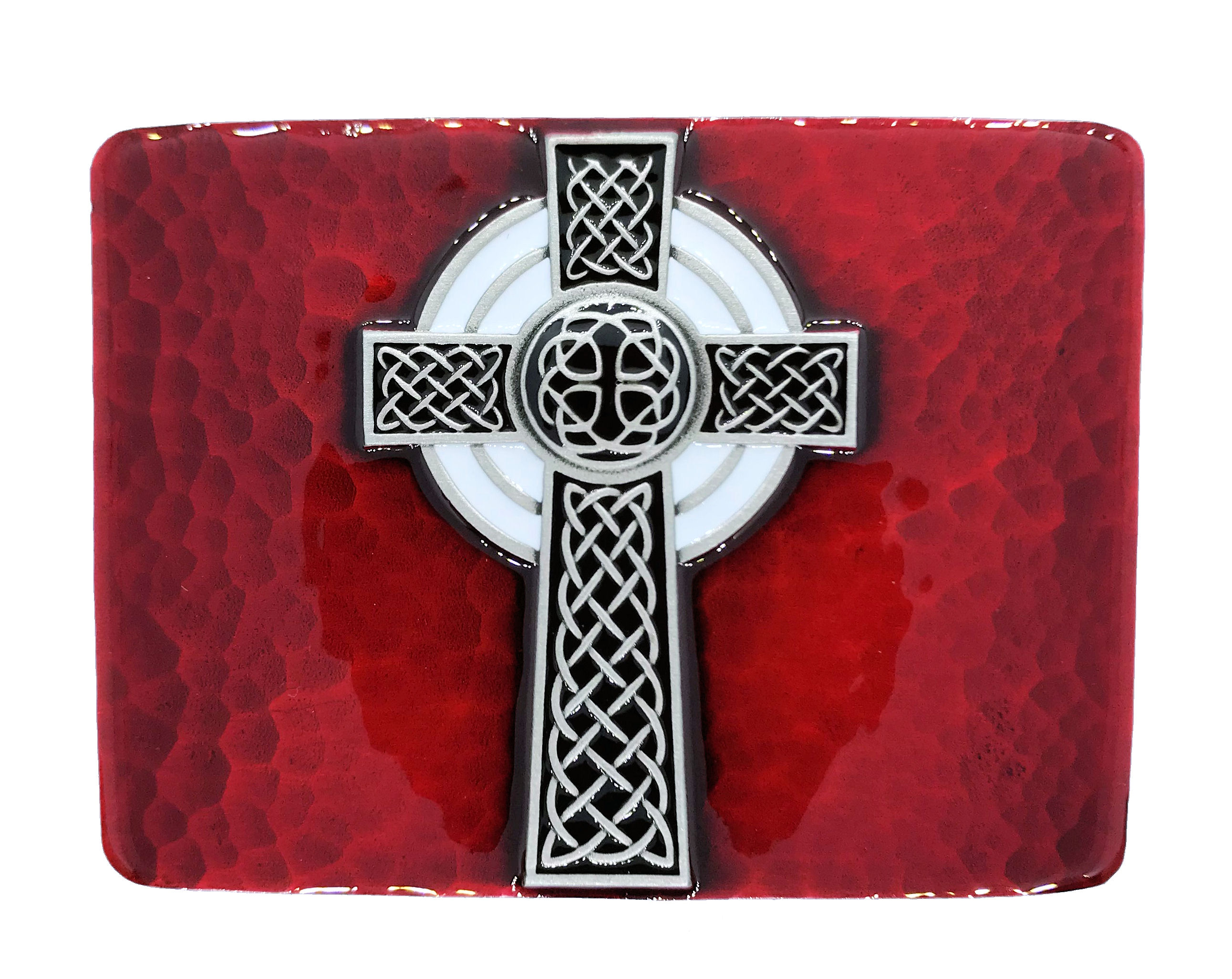 Celtic Cross Red Belt Buckle