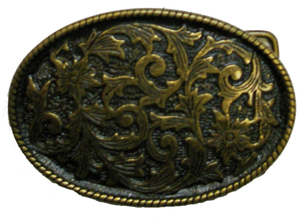 Oval Floral Brass Antique Finish
