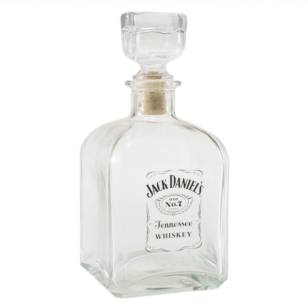 JACK DANIELS LABEL LOGO GLASS DECANTER