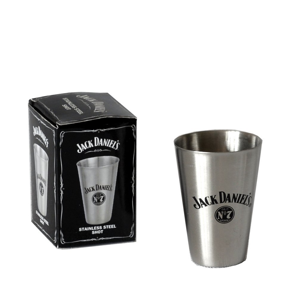 JACK DANIELS TALL METAL SHOT GLASS OFFICIALLY LICENSED