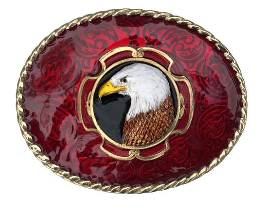 Eagle Head Gold & Silver Plated Red Belt Buckle