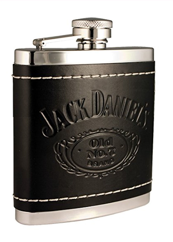 Jack Daniels Stainless Steel Leather Cover Flask