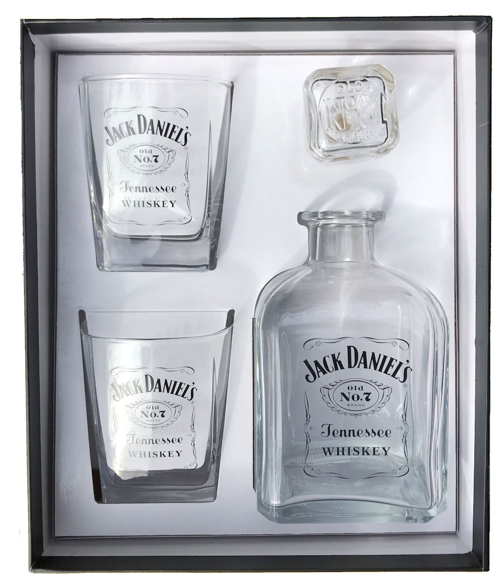 Jack Daniels Decanter/2 DOF Set Black Label Logo