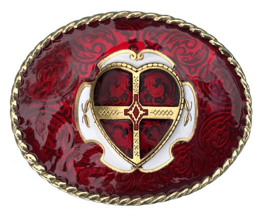 Heart Belt Buckle Red Gold Colour