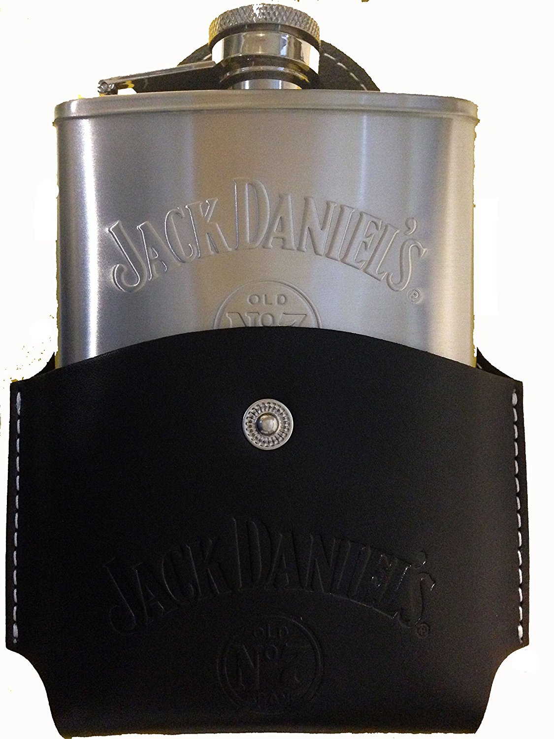 JACK DANIELS COVERED HIP FLASK BLACK