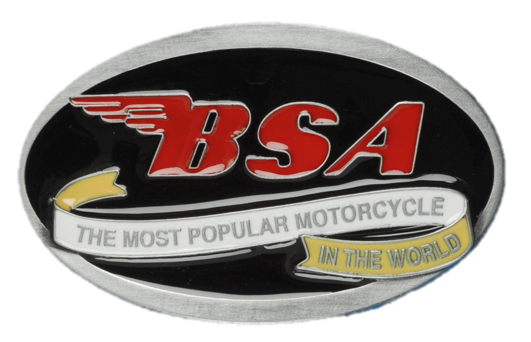 BSA Oval Scroll (Black & Red) Belt Buckle