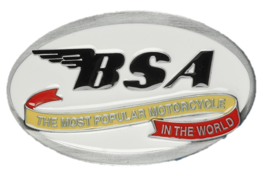 BSA Oval Scroll White & Black Officially Licensed Belt Buckle