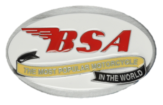 BSA Oval Scroll (White/Red) Belt Buckle
