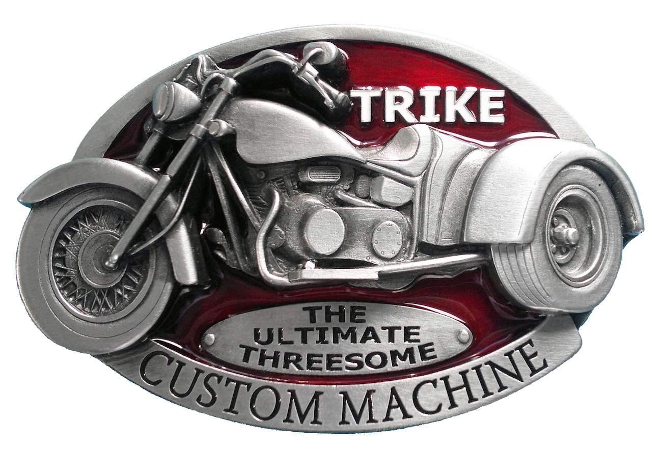 Trike Custom Machine Red Biker Belt Buckle