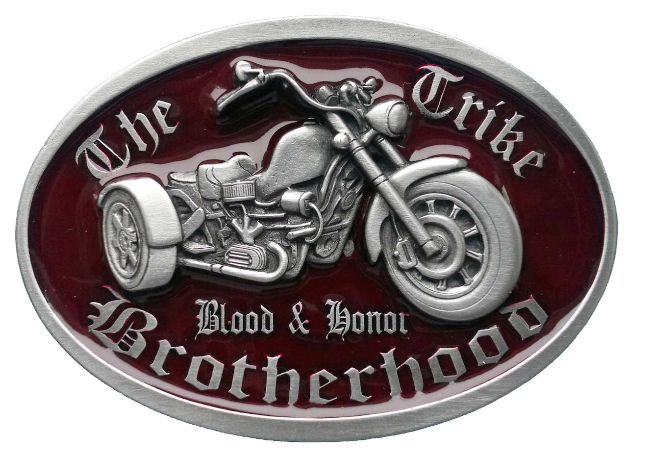 Trike Brotherhood Red Biker Belt Buckle