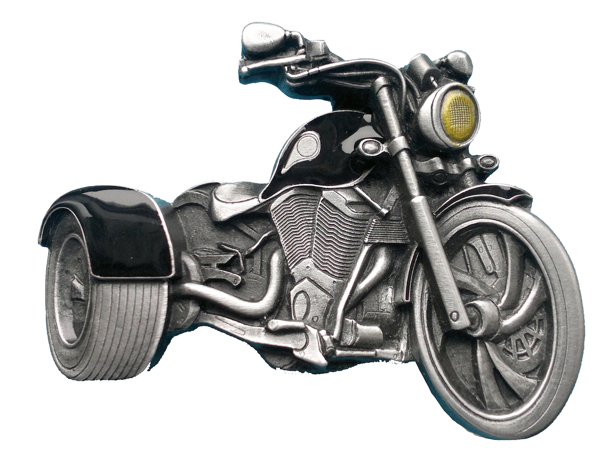 Trike Motorcycle Cutout Black Belt Buckle