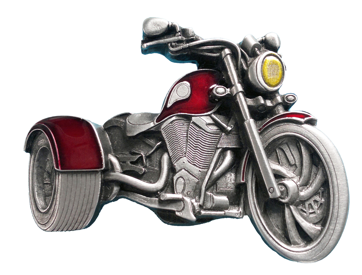 Trike Motorcycle Cut out Red Belt Buckle