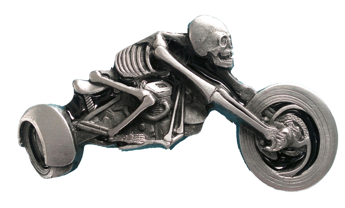 Skeleton Trike Rider Belt Buckle