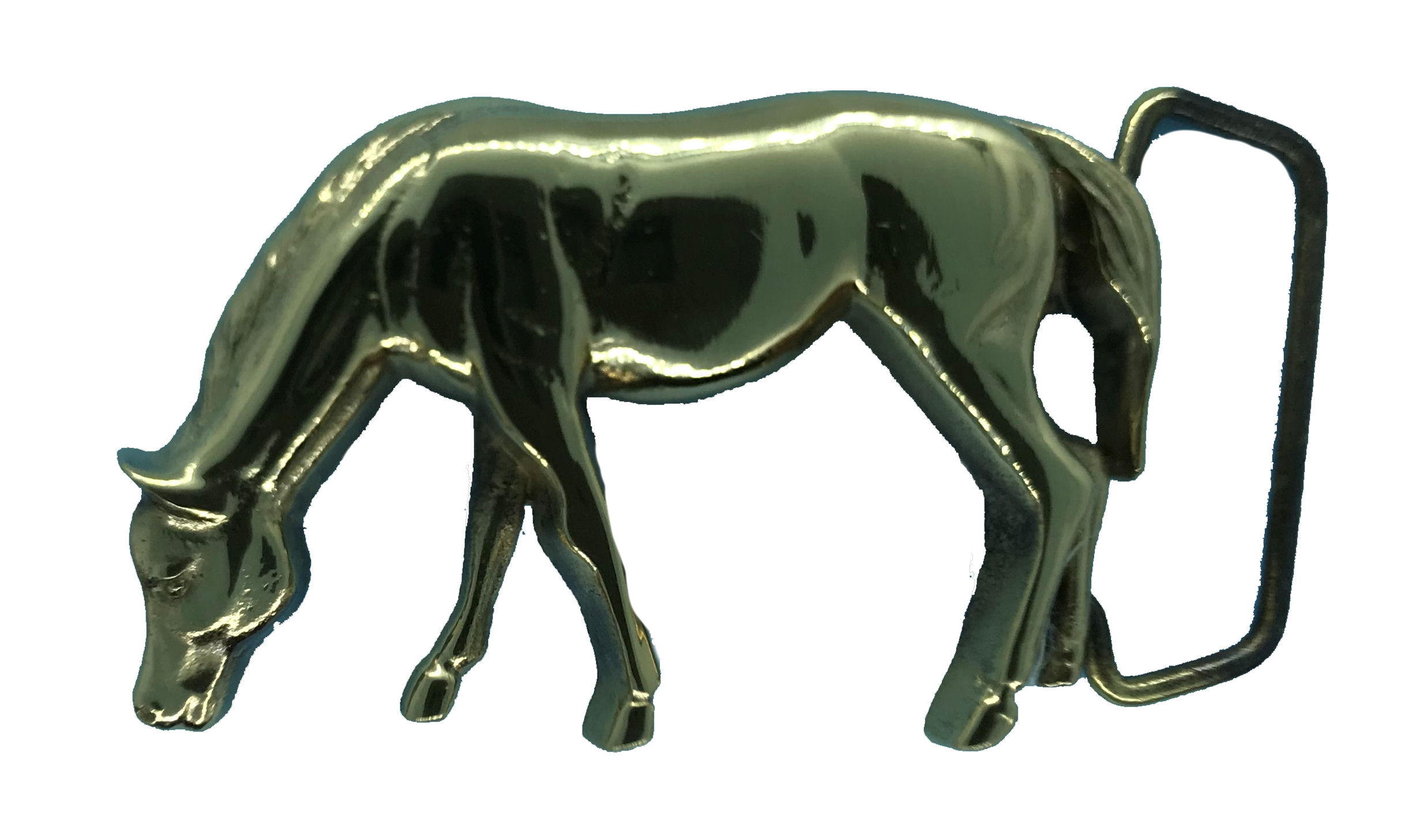 Horse Grazing Brass Buckle