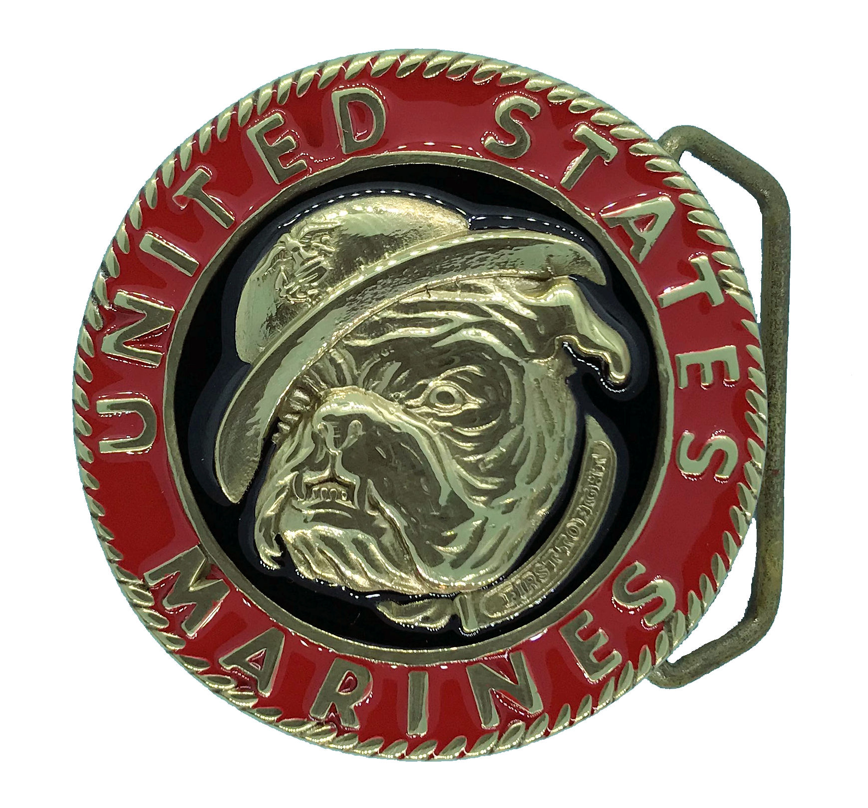 Marine Bulldog Brass Belt Buckle