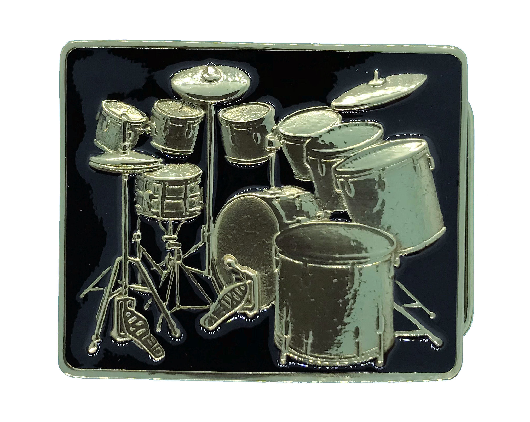Large Drum Kit Brass Buckle - Black