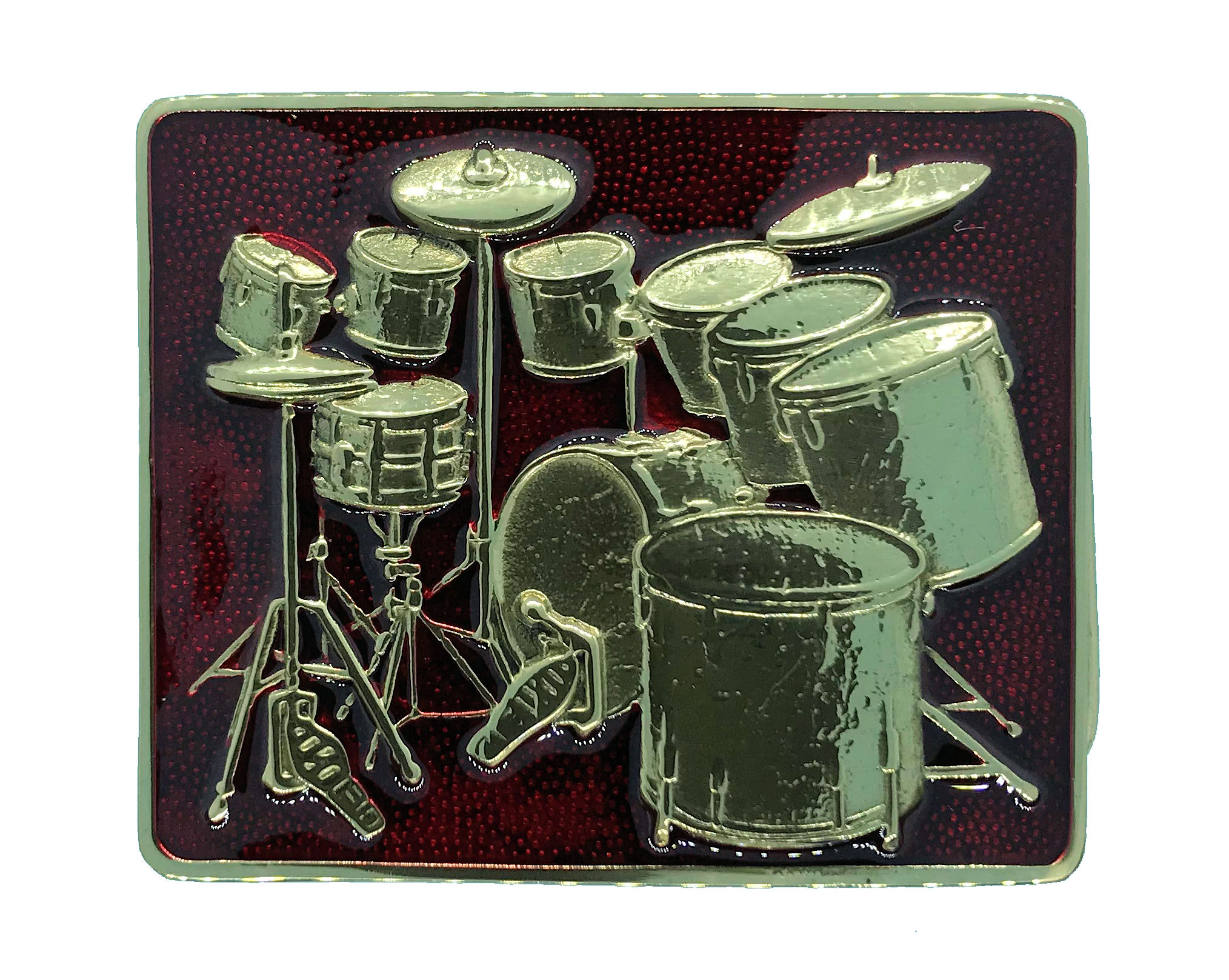 Brass Drum Kit Red Belt Buckle