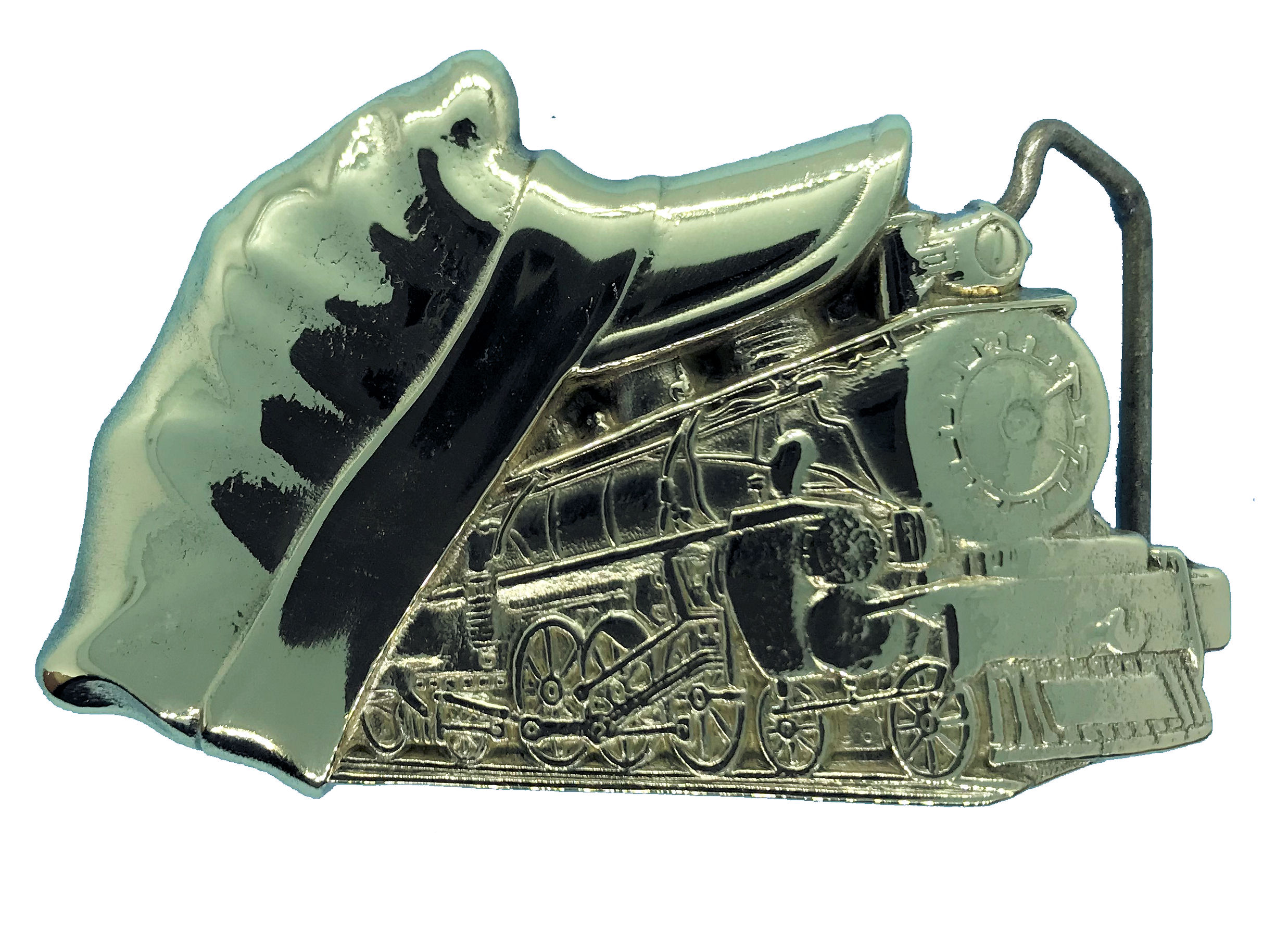 Train & Cap Brass Belt Buckle