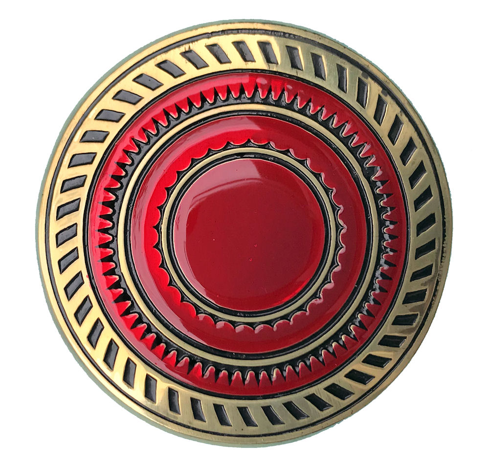 Round Design Brass Buckle Red