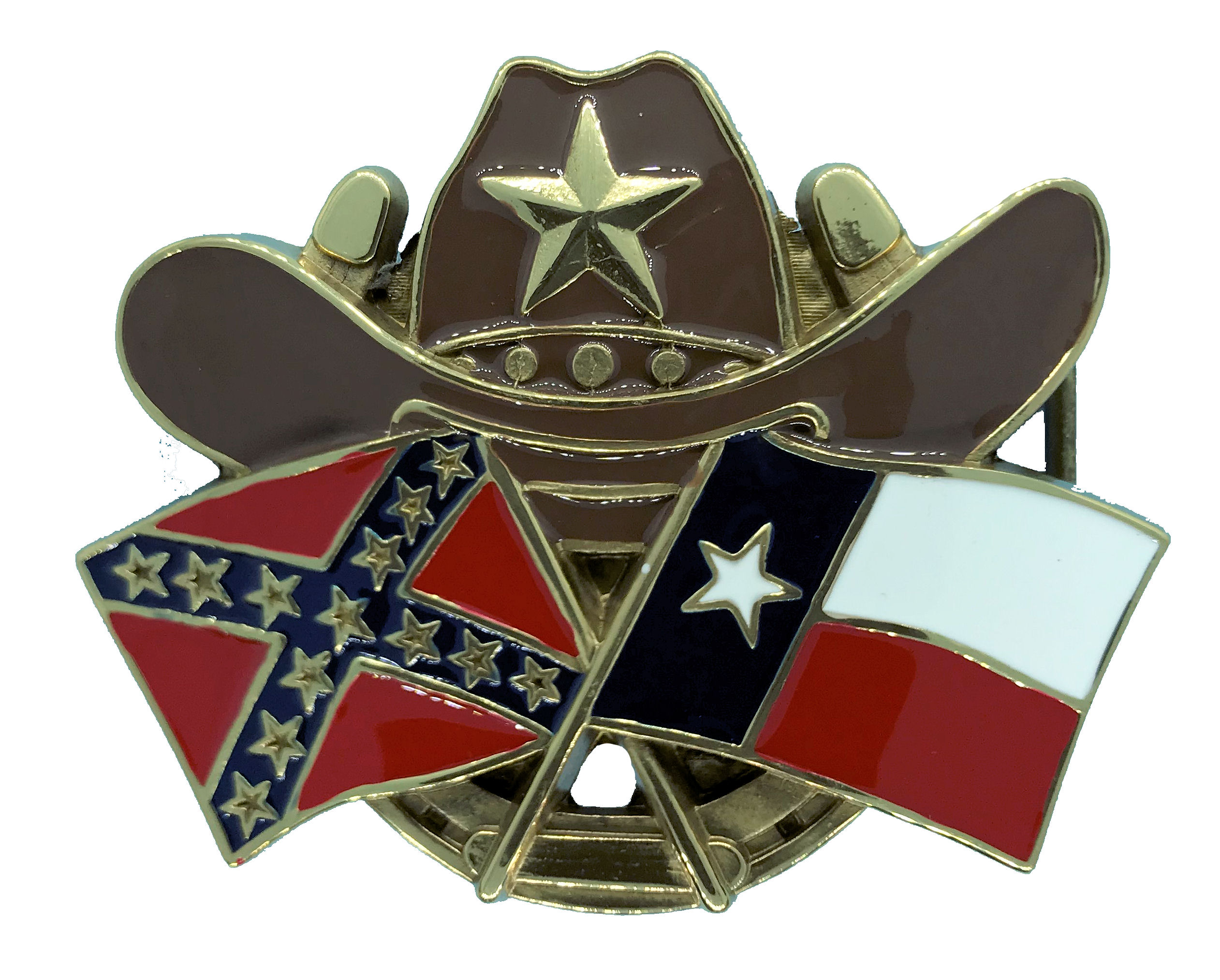 Hat and Flags Belt Buckle