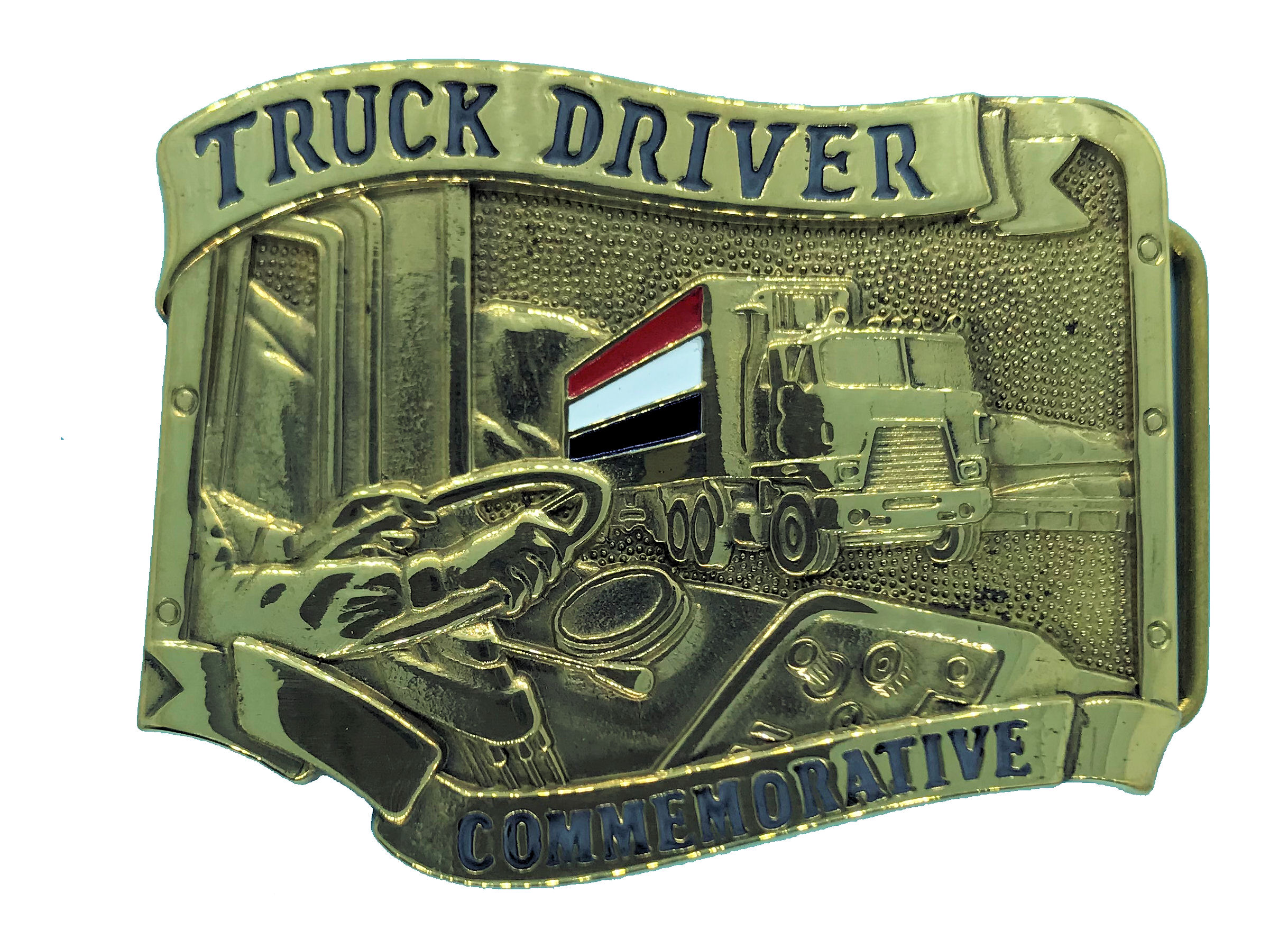 Commemmorative Truck Driver Brass Buckle
