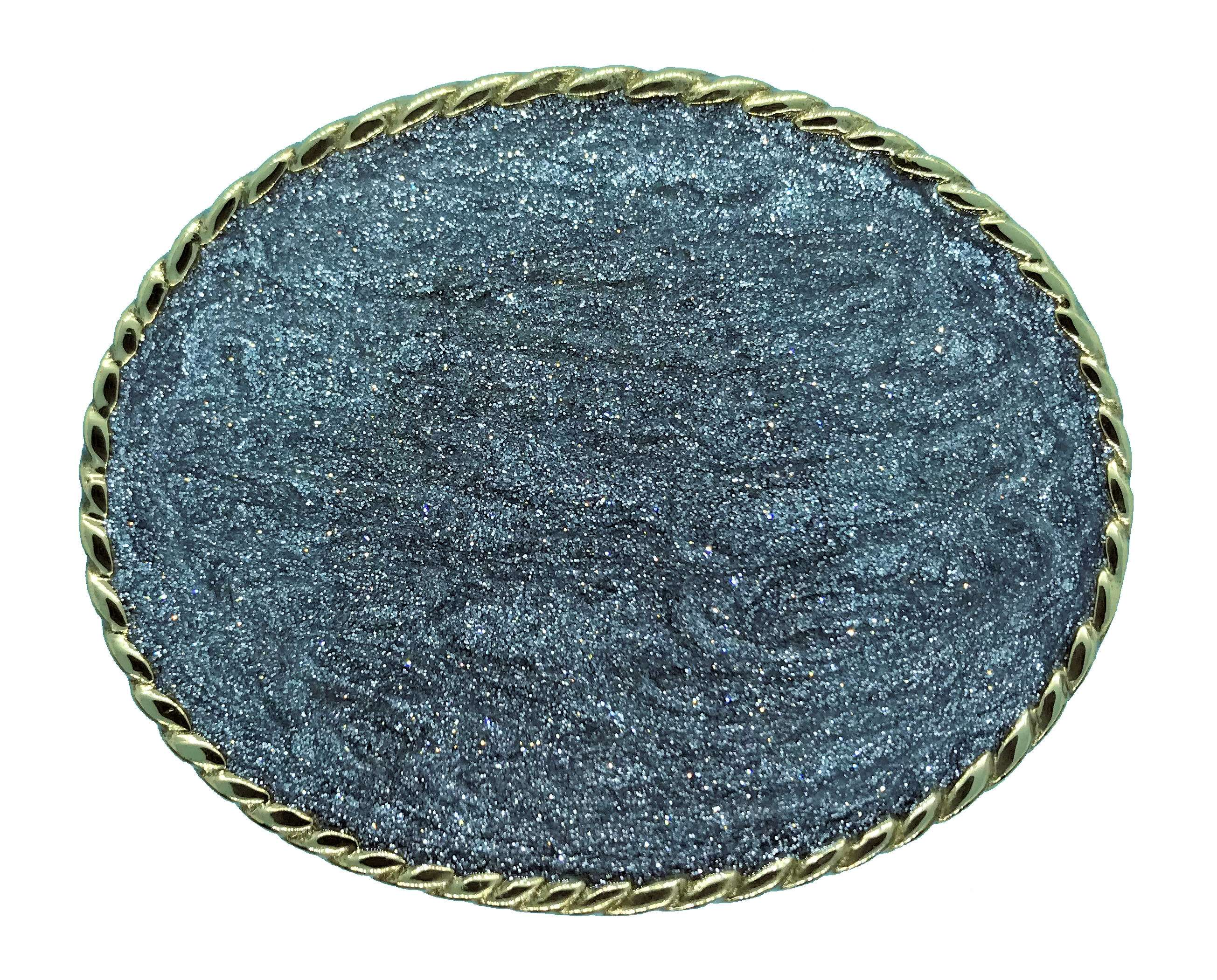 Large Rodeo Glitter Disc Belt Buckle