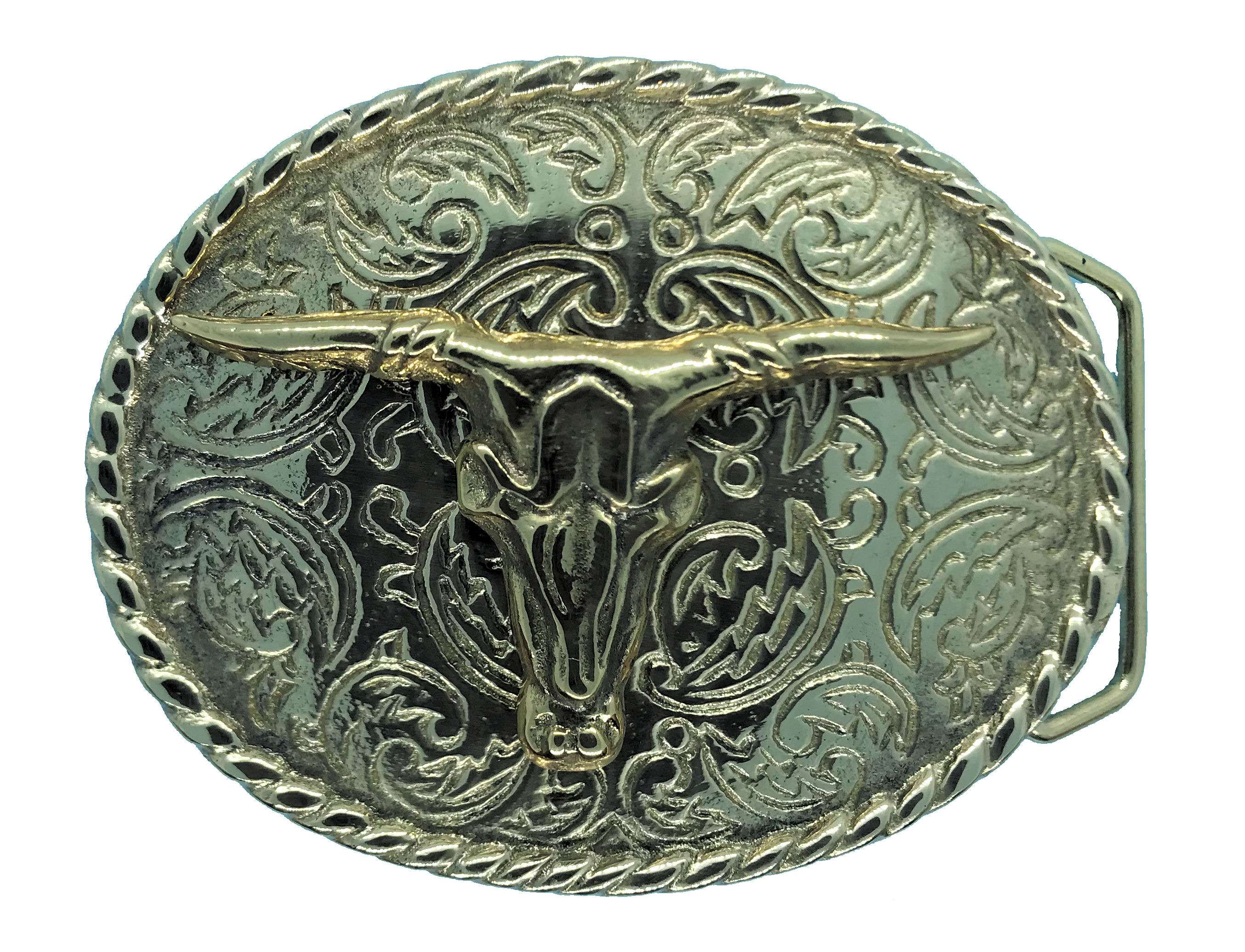 Rodeo Steer Brass Belt Buckle
