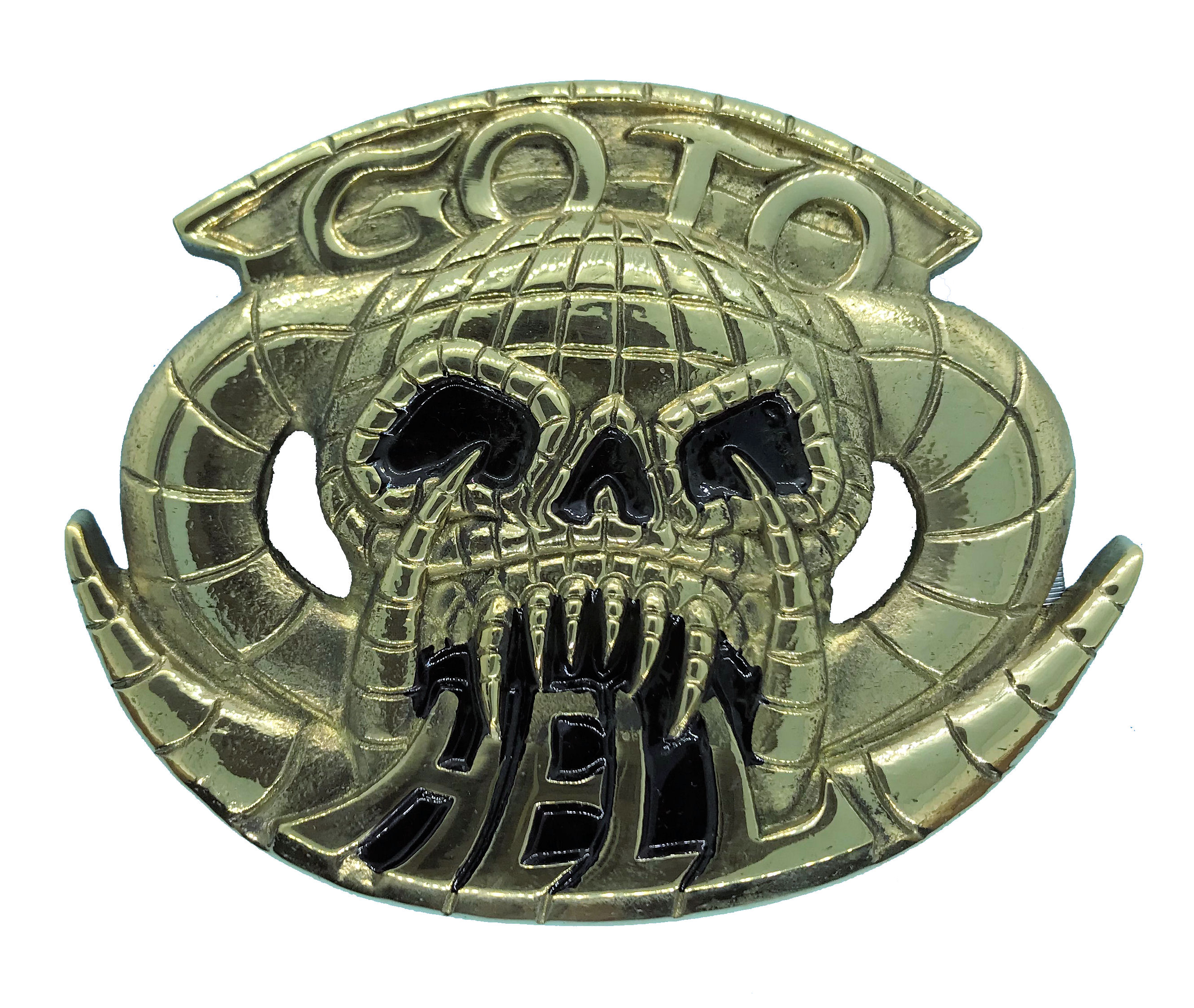 Go To Hell Brass Belt Buckle