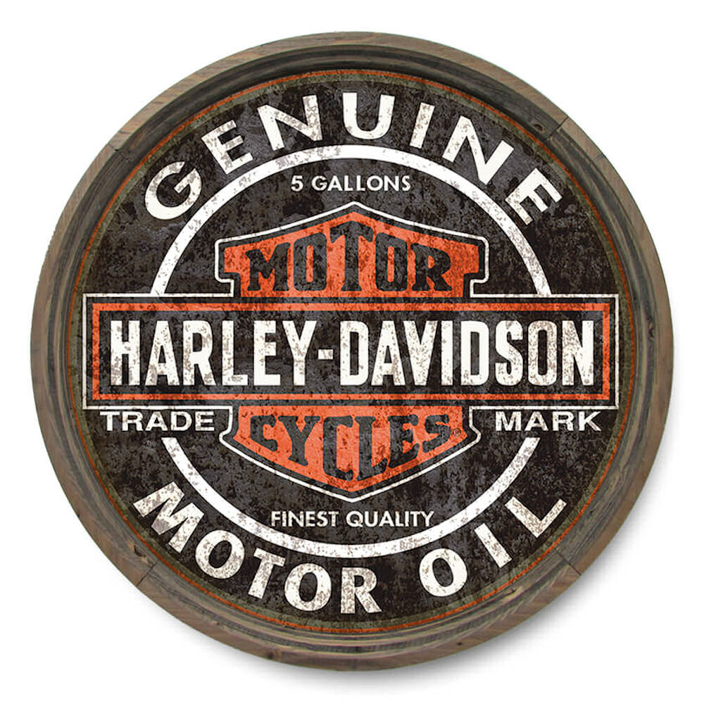 Harley Davidson Barrel End Genuine Motor Oil Sign